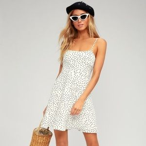 Lulus Bisou White Polka Dot Skater Dress